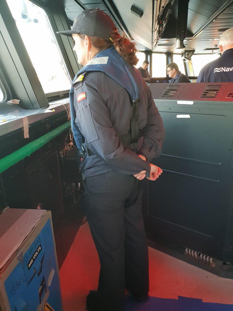 Figura 12: Anita Sánchez en las pruebas de mar del BAM Furor en septiembre de 2018 (Foto facilitada por el autor)