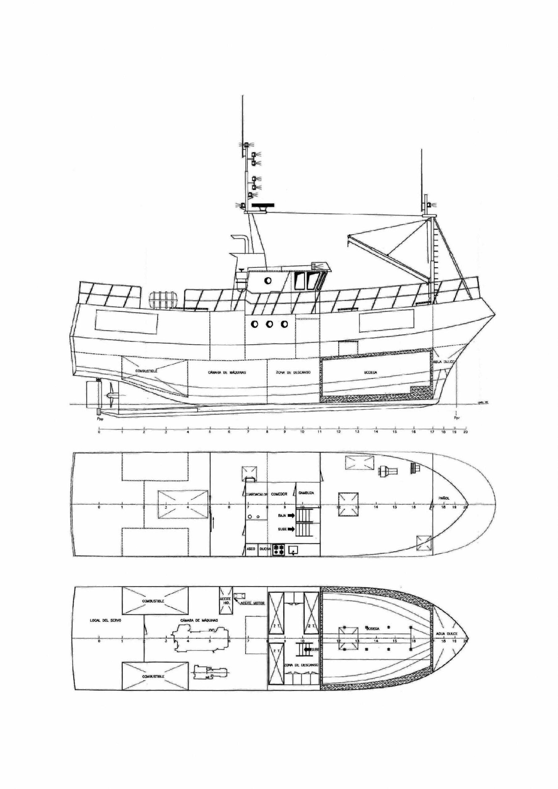 Figura 2: Plano de disposición general del pesquero Hermanos Landrove