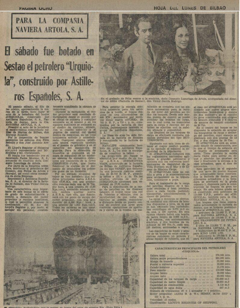 Figura 6: Periódico de Bilbao, Hoja del Lunes, anunciando la botadura del Urquiola