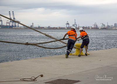 """Figura 1: Amarradores en acción (Foto facilitada por Antonio Alcaraz Arbelo de """"www.harbourpilot.es"""")"""