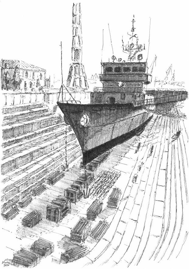 Figura 1: Buque de guerra en dique de Ferrol (Fuente: Fernando Freire)