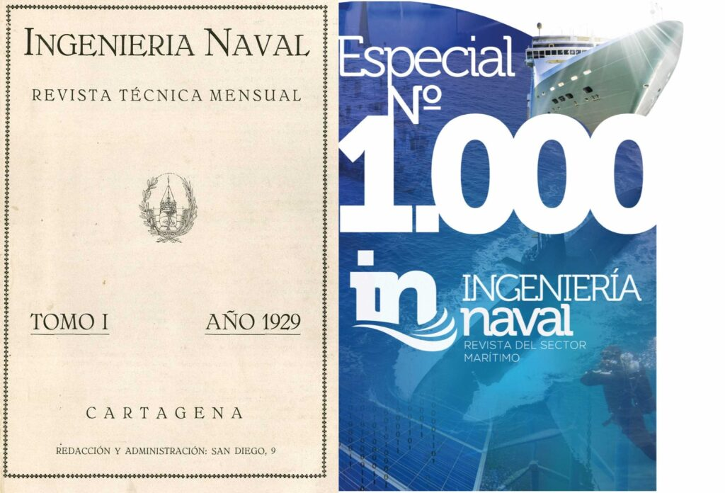 Figura 1: Primer tomo de la revista de ingeniería naval junto al especial del número 1000